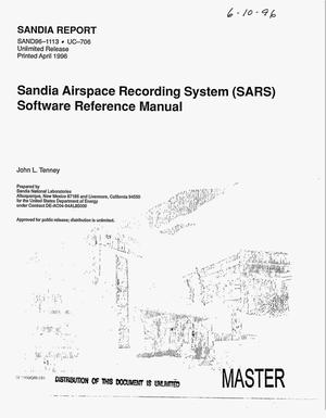 Primary view of object titled 'Sandia Airspace Recording System (SARS) software reference manual'.