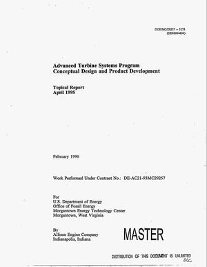 Primary view of object titled 'Advanced turbine systems program conceptual design and product development. Topical report, April 1995'.