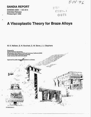 Primary view of object titled 'A viscoplastic theory for braze alloys'.