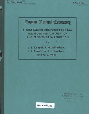 Primary view of object titled 'A Generalized Computer Program for Flowsheet Calculation and Process Data Reduction'.