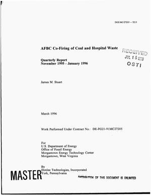 Primary view of object titled 'AFBC co-firing of coal and hospital waste. Quarterly report, November 1995--January 1996'.