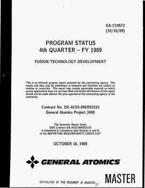 Primary view of object titled 'Program status 4. quarter -- FY 1989: Fusion technology development'.