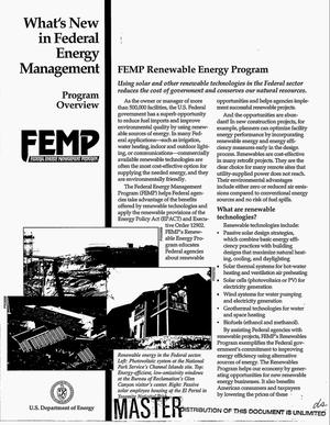 Primary view of object titled 'What`s new in Federal Energy Management: Program overview'.