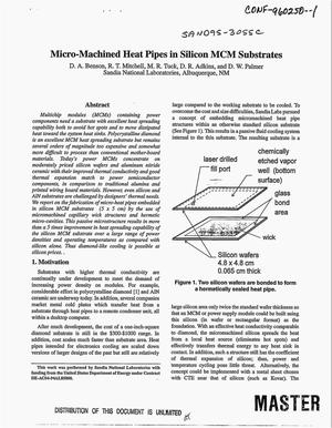 Primary view of object titled 'Micro-machined heat pipes in silicon MCM substrates'.