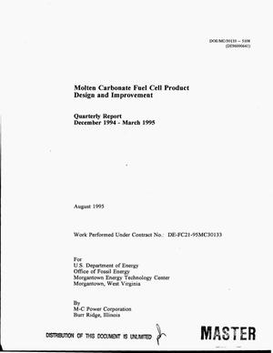 Primary view of object titled 'Molten carbonate fuel cell product design and improvement. Quarterly report, December 1994--March 1995'.