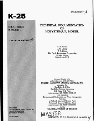 Primary view of object titled 'Technical documentation of HGSYSTEM/UF{sub 6} model'.