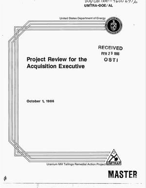 Primary view of object titled 'Project review for the acquisition executive'.