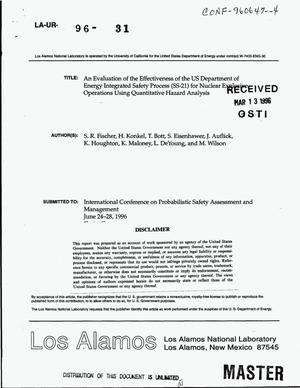 Primary view of object titled 'An evaluation of the effectiveness of the US Department of Energy Integrated Safety Process (SS-21) for Nuclear Explosive Operations using quantitative hazard analysis'.