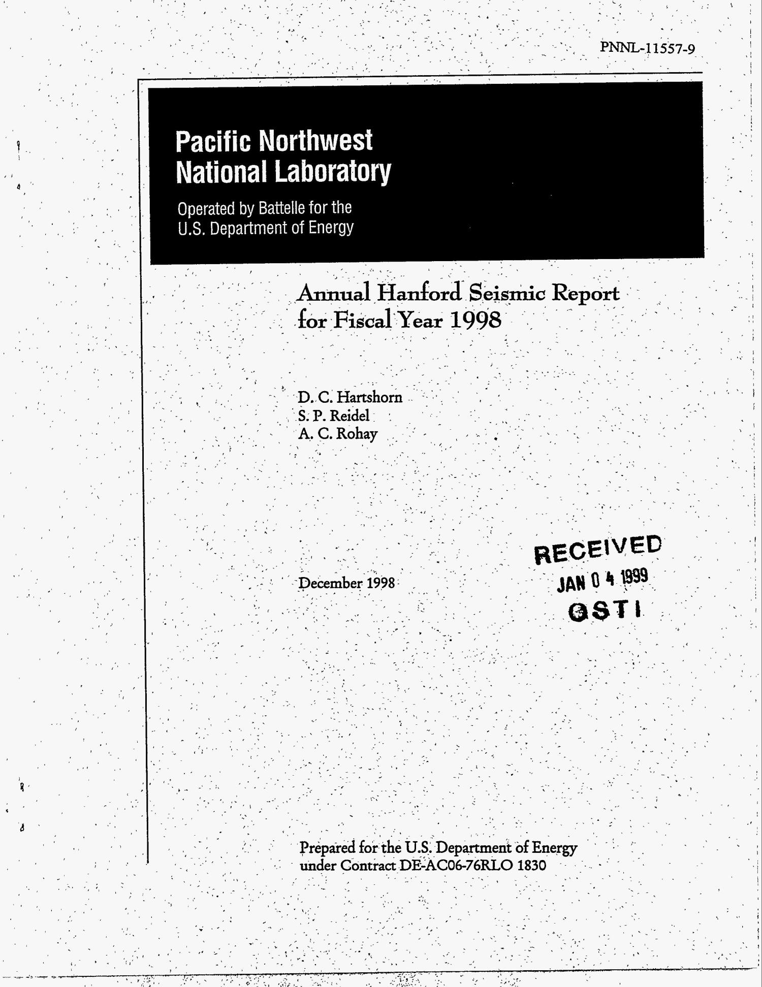 Annual Hanford Seismic Report for Fiscal Year 1998 - Digital Library