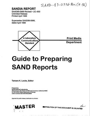 Primary view of object titled 'Guide to preparing SAND reports. Revised'.