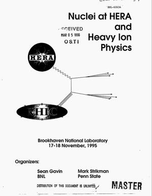 Primary view of object titled 'Nuclei at HERA and heavy ion physics'.