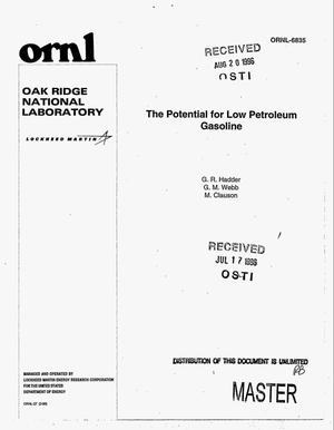 Primary view of object titled 'The potential for low petroleum gasoline'.
