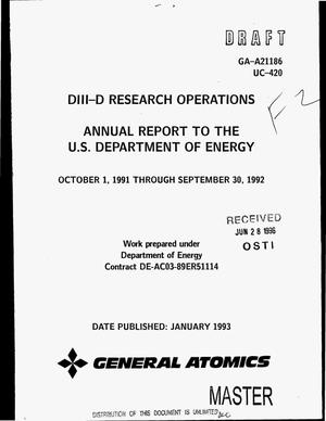 Primary view of object titled 'DIII-D research operations. Annual report to the Department of Energy, October 1, 1991--September 30, 1992'.