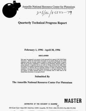 Primary view of object titled 'Quarterly technical progress report, February 1, 1996--April 30, 1996'.