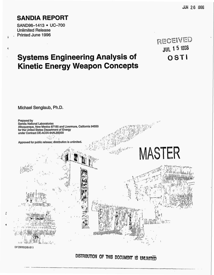 Systems engineering analysis of kinetic energy weapon concepts