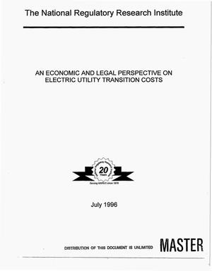 Primary view of object titled 'An economic and legal perspective on electric utility transition costs'.