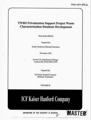 Primary view of object titled 'TWRS privatization support project waste characterization database development. Volume 2'.