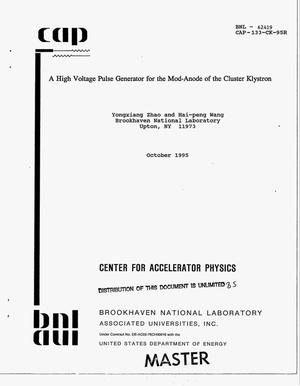 Primary view of object titled 'A high voltage pulse generator for the mod-anode of the cluster klystron'.