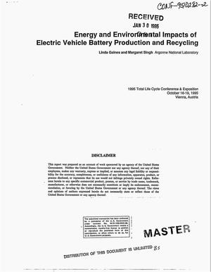 Primary view of object titled 'Energy and environmental impacts of electric vehicle battery production and recycling'.
