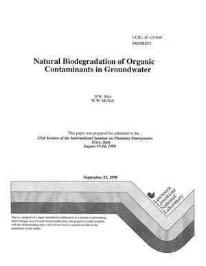 Primary view of object titled 'Natural biodegradation of organic contaminants in groundwater'.