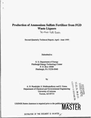 Primary view of object titled 'Production of ammonium sulfate fertilizer from FGD waste liquors. Second quarterly technical report, April--June 1995'.