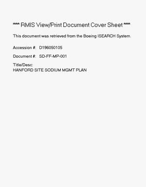 Primary view of object titled 'Hanford site sodium management plan'.