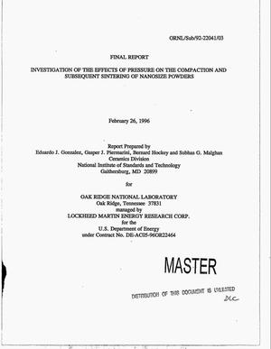 Primary view of object titled 'Investigation of the effects of pressure on the compaction and subsequent sintering of nanosize powders. Final report'.