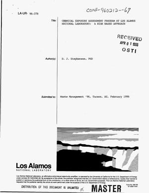 Primary view of object titled 'Chemical Exposure Assessment Program at Los Alamos National Laboratory: A risk based approach'.