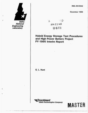 Primary view of object titled 'Hybrid energy storage test procedures and high power battery project FY-1995 interim report'.