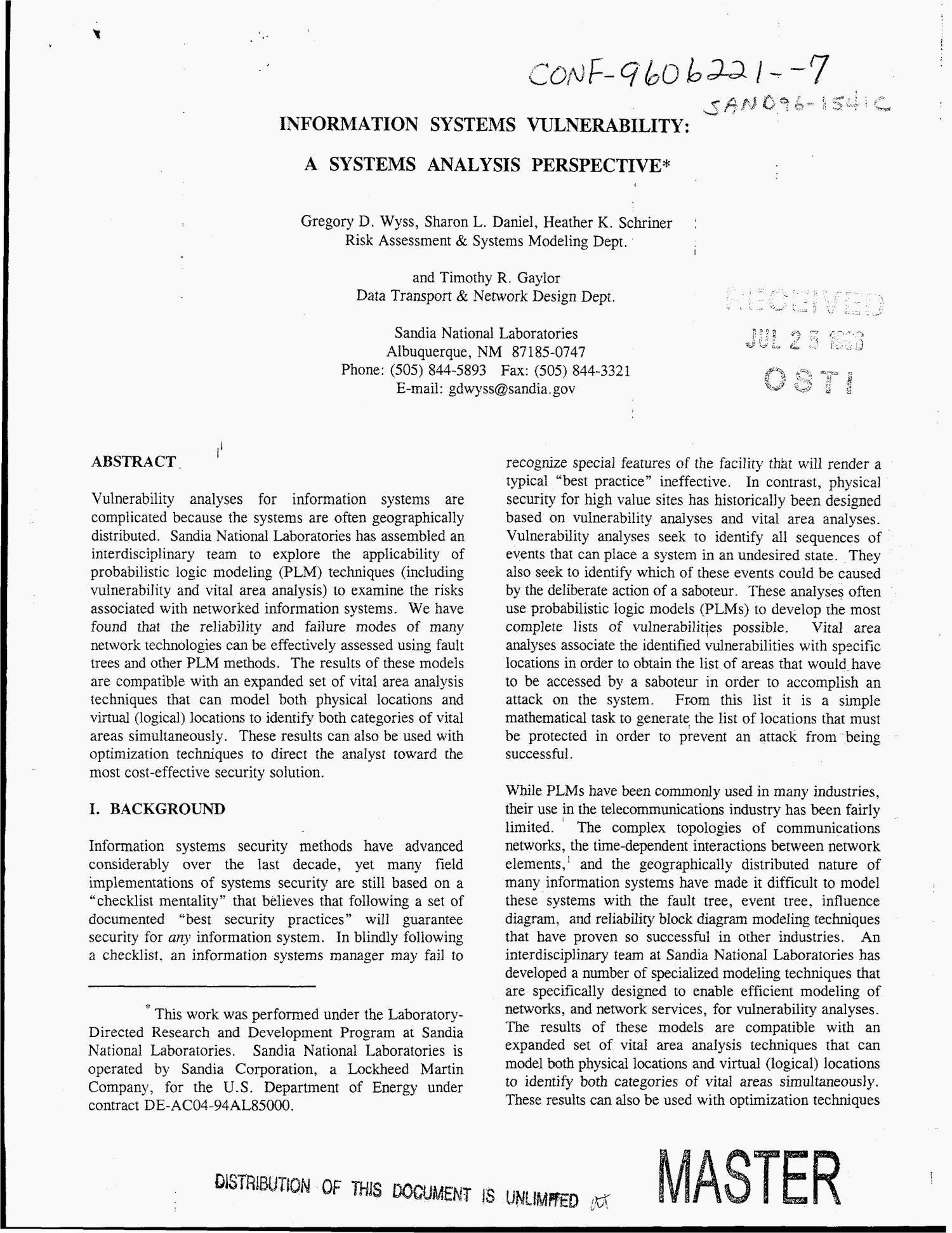 Information Systems Vulnerability A Systems Analysis Perspective Unt Digital Library