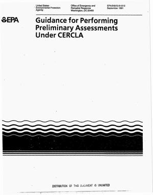 Primary view of object titled 'Guidance for performing preliminary assessments under CERCLA'.