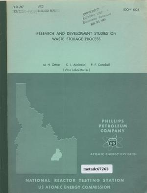 Primary view of object titled 'Research and Development Studies on Waste Storage Process'.