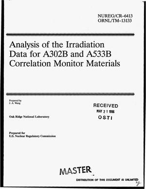 Primary view of object titled 'Analysis of the irradiation data for A302B and A533B correlation monitor materials'.