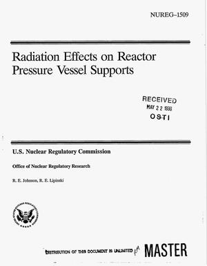 Primary view of object titled 'Radiation effects on reactor pressure vessel supports'.