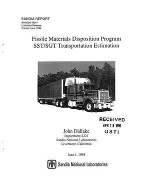 Primary view of object titled 'Fissile Materials Disposition Program SST/SGT Transportation Estimatio'.