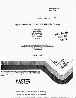 Primary view of object titled 'Application of MXCD to magnetic thin-film sensors'.