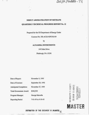 Primary view of object titled 'Direct aromatization of methane. Quarterly technical progress report No. 12, July 1, 1995--September 30, 1995'.