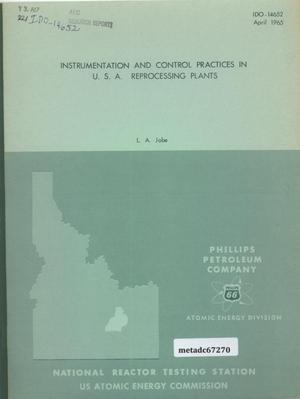 Primary view of object titled 'Instrumentation and Control Practices in U.S.A. Reprocessing Plants'.