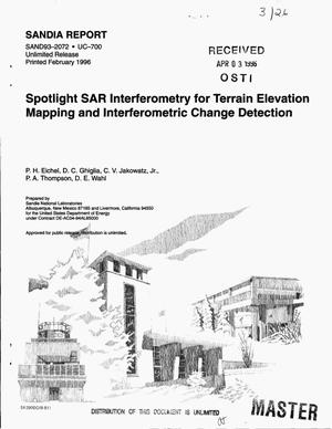 Primary view of object titled 'Spotlight SAR interferometry for terrain elevation mapping and interferometric change detection'.