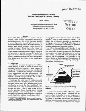 Primary view of object titled 'Advancing Design-for-Assembly: The Next Generation in Assembly Planning'.
