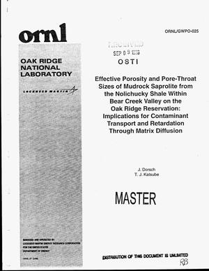 Primary view of object titled 'Effective porosity and pore-throat sizes of mudrock saprolite from the Nolichucky Shale within Bear Creek Valley on the Oak Ridge Reservation: Implications for contaminant transport and retardation through matrix diffusion'.