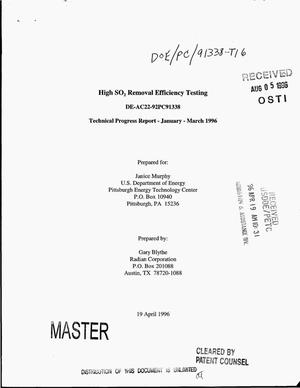 Primary view of object titled 'High SO{sub 2} removal efficiency testing. Technical progress report, January--March 1996'.