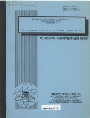Primary view of object titled 'Engineering Test Reactor Critical Facility Hazards Summary Report, Supplement I'.