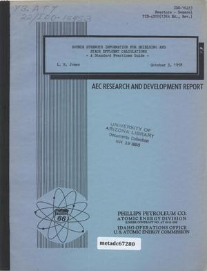 Primary view of object titled 'Source Strength Information for Shielding and Stack Effluent Calculations: a Standard Practices Guide'.