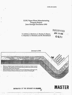 Primary view of object titled 'LLNL vapor phase manufacturing progress report, June--December 1995'.