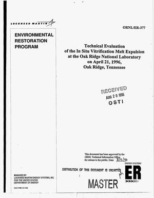 Primary view of object titled 'Technical evaluation of the in situ vitrification melt expulsion at the Oak Ridge National Laboratory on April 21, 1996, Oak Ridge, Tennessee'.