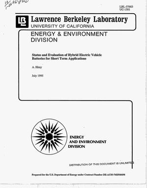 Primary view of object titled 'Status and evaluation of hybrid electric vehicle batteries for short term applications. Final report'.