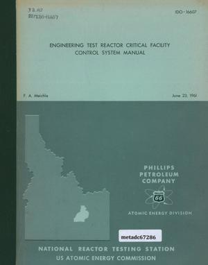 Primary view of object titled 'Engineering Test Reactor Critical Facility Control System Manual'.