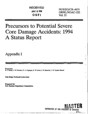 Primary view of object titled 'Precursors to potential severe core damage accidents: 1994, a status report. Volume 22: Appendix I'.