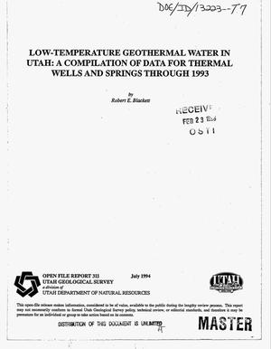 Primary view of object titled 'Low-temperature geothermal water in Utah: A compilation of data for thermal wells and springs through 1993'.